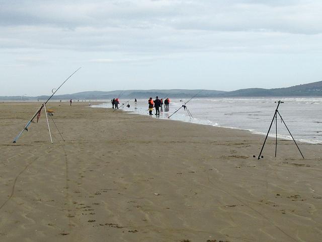Fishing on Cefn Sidan beach - geograph.org.uk - 176581