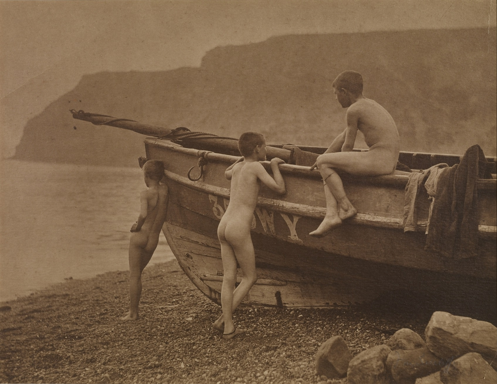 Francis Sutcliffe - Three Naked Boys Around a Coble.jpg