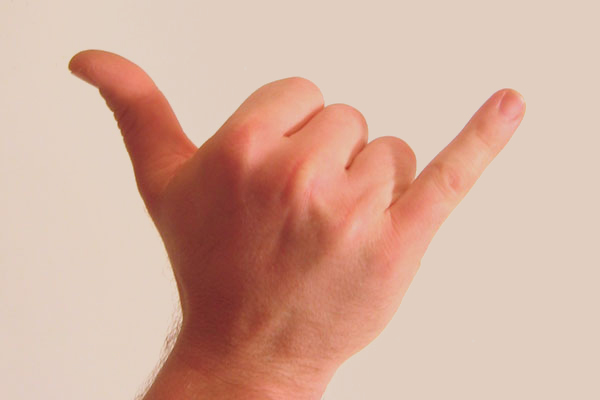 Surfer hand sign