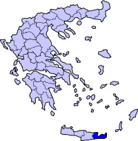 Location of Lasithi Prefecture in Greece