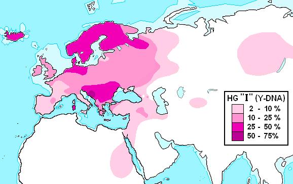 Современное распространение гаплогруппы I (Y-ДНК)