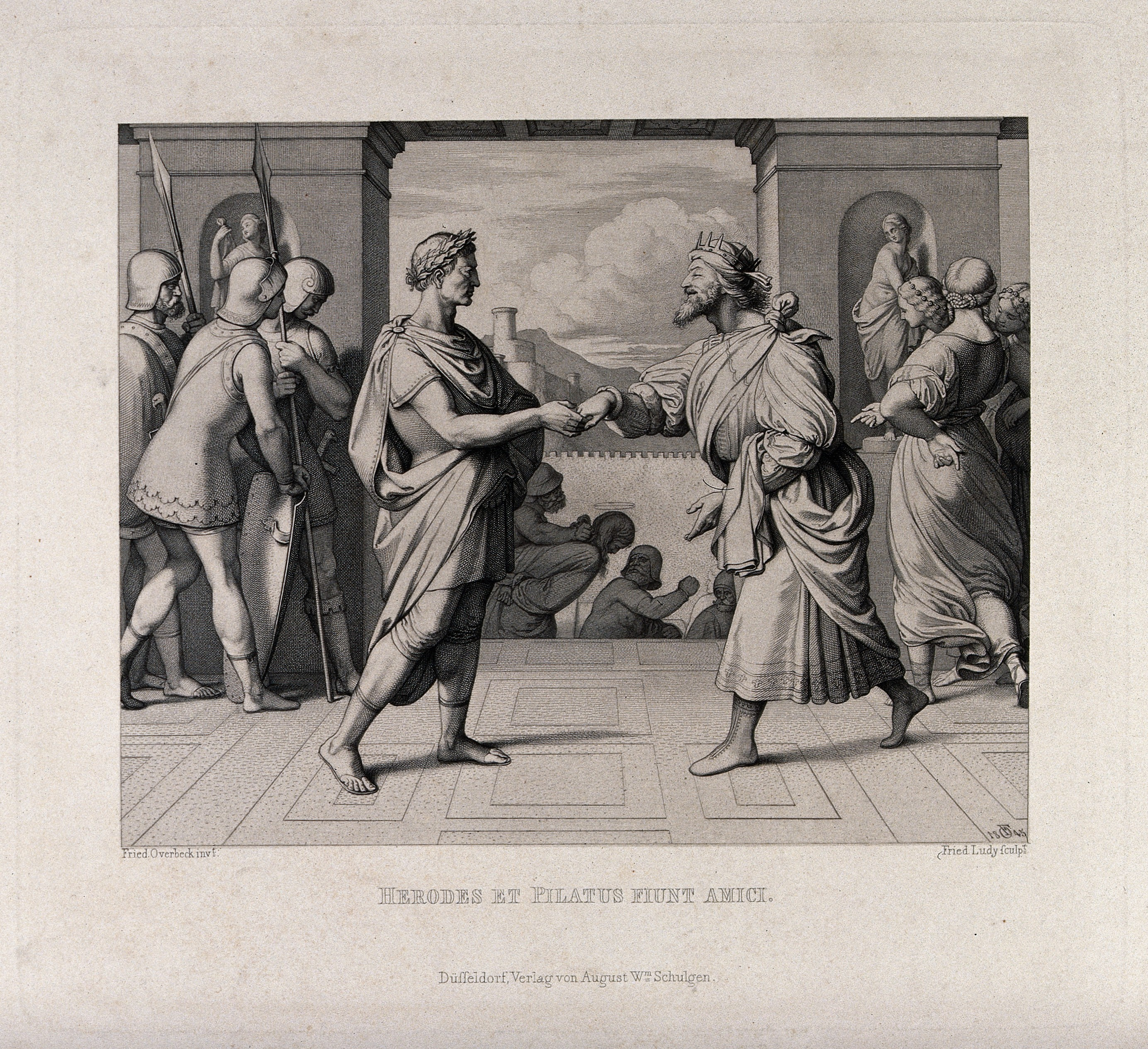 file herod and pontius pilate shake hands etching by f a ludy a