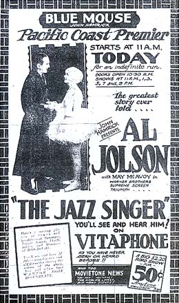 Il cantante di jazz in Vitaphone e le News in Movietone