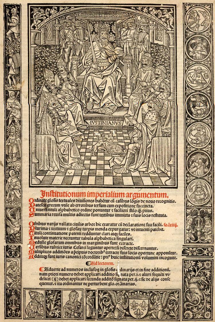 Illustration pour les Institutiones Imperiales. Justinien trône au centre de la gravure xvie siècle