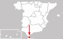 Locator map of Ceuta