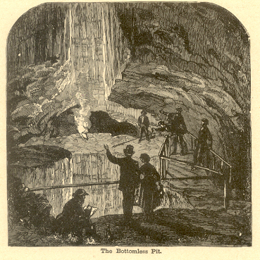 Mammoth Cave: The Bottomless Pit, 1887 wood cut print in the private collection of Dr. Nuno Carvalho de Sousa