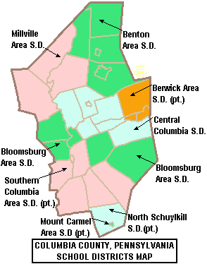 Map of Columbia County Pennsylvania School Districts.png