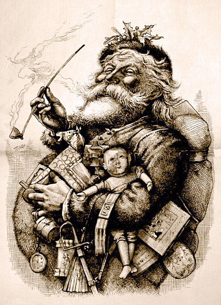 Santa Claus with pipe and toys