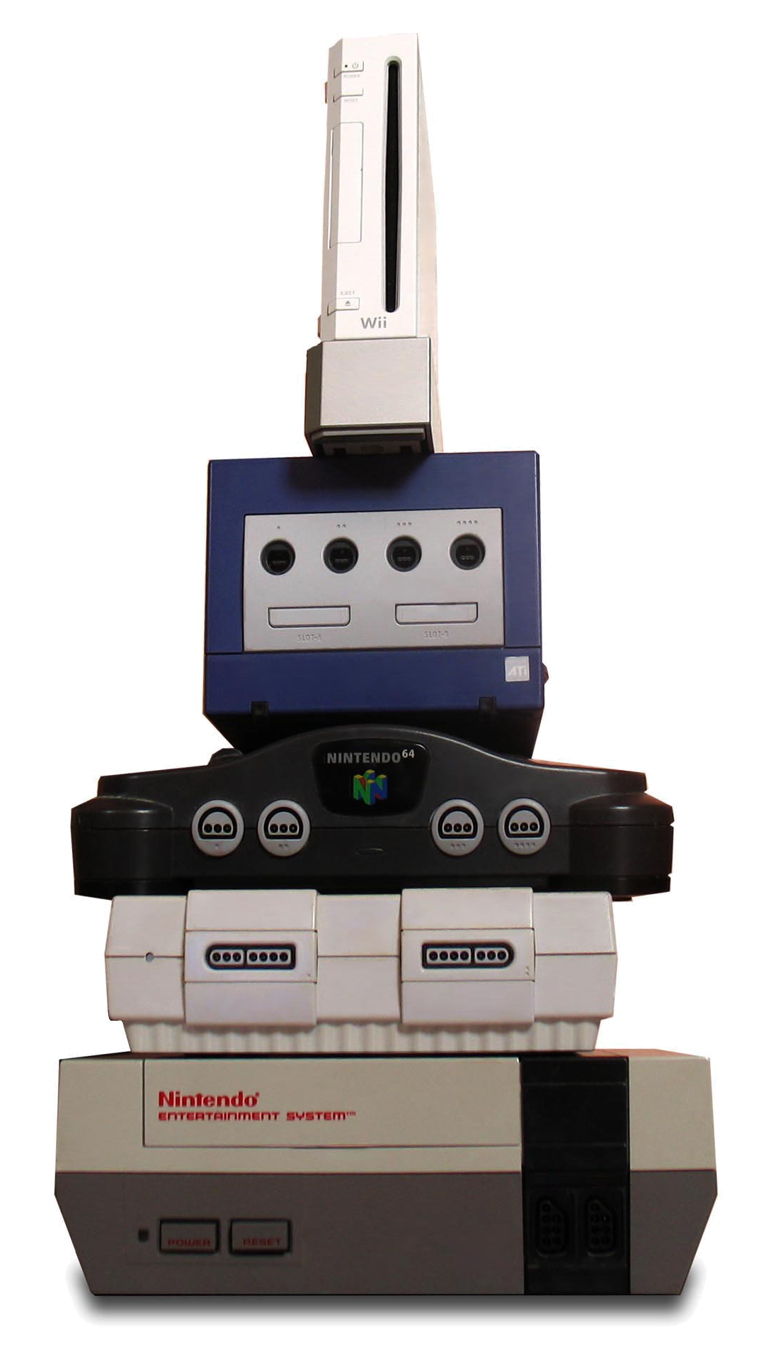 The Wii (top) compared in size to the NGC, N64, North American SNES and NES