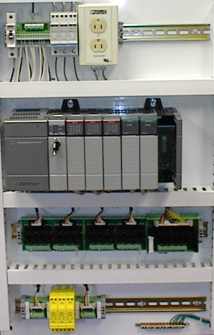 Control panel with PLC (grey elements in the center). The unit consists of separate elements, from left to right; power supply, controller, relay units for in- and output