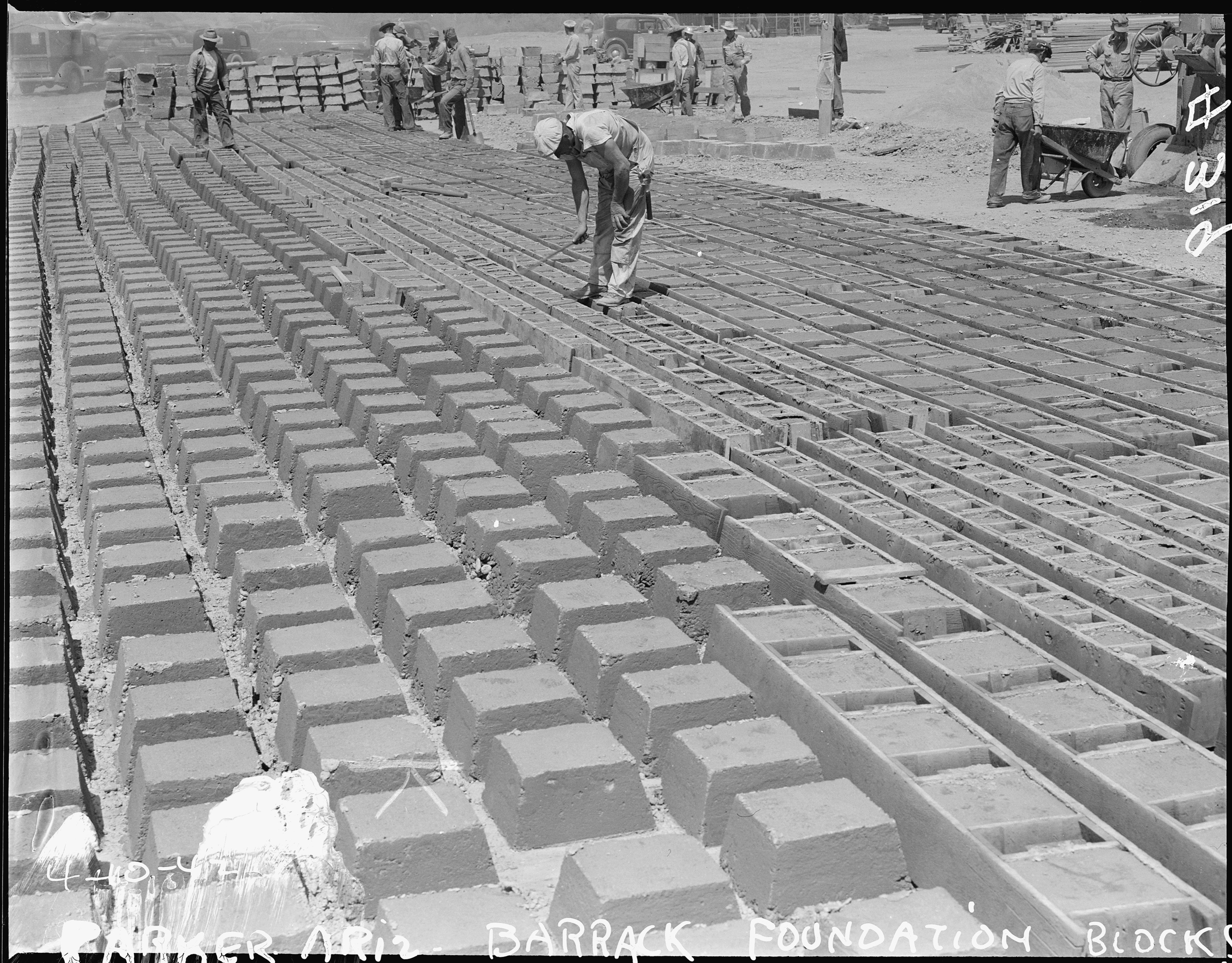 Parker C Arizona Thousands Of Concrete Foundation Blocks Were Cast For Foundations Of New Living Qu Nara
