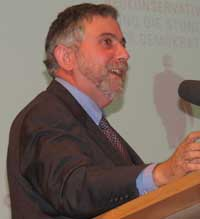 Krugman giving a lecture at the German National Library in Frankfurt in 2008.