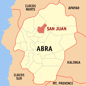 Mapa na Abra ya nanengneng so location na San Juan