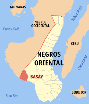 Map of Negros Oriental showing the location of Basay