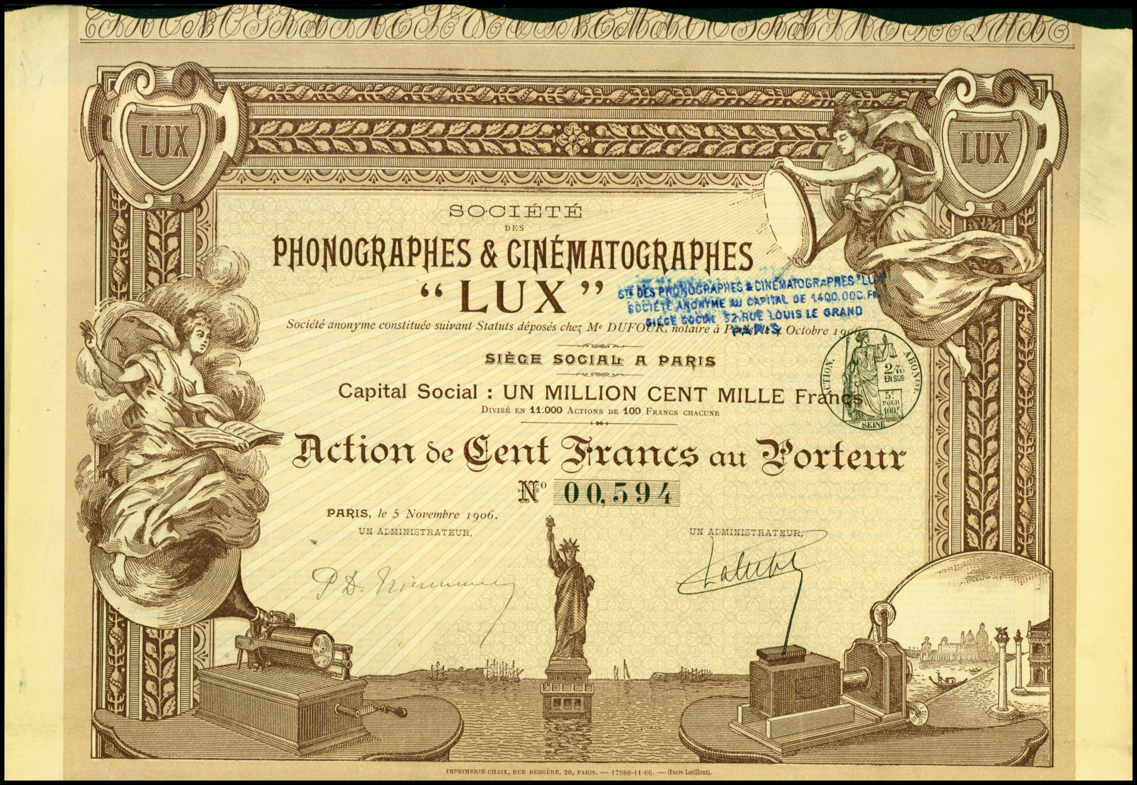 Share of the Société des Phonographes et Cinématographes Lux, issued 5. November 1906