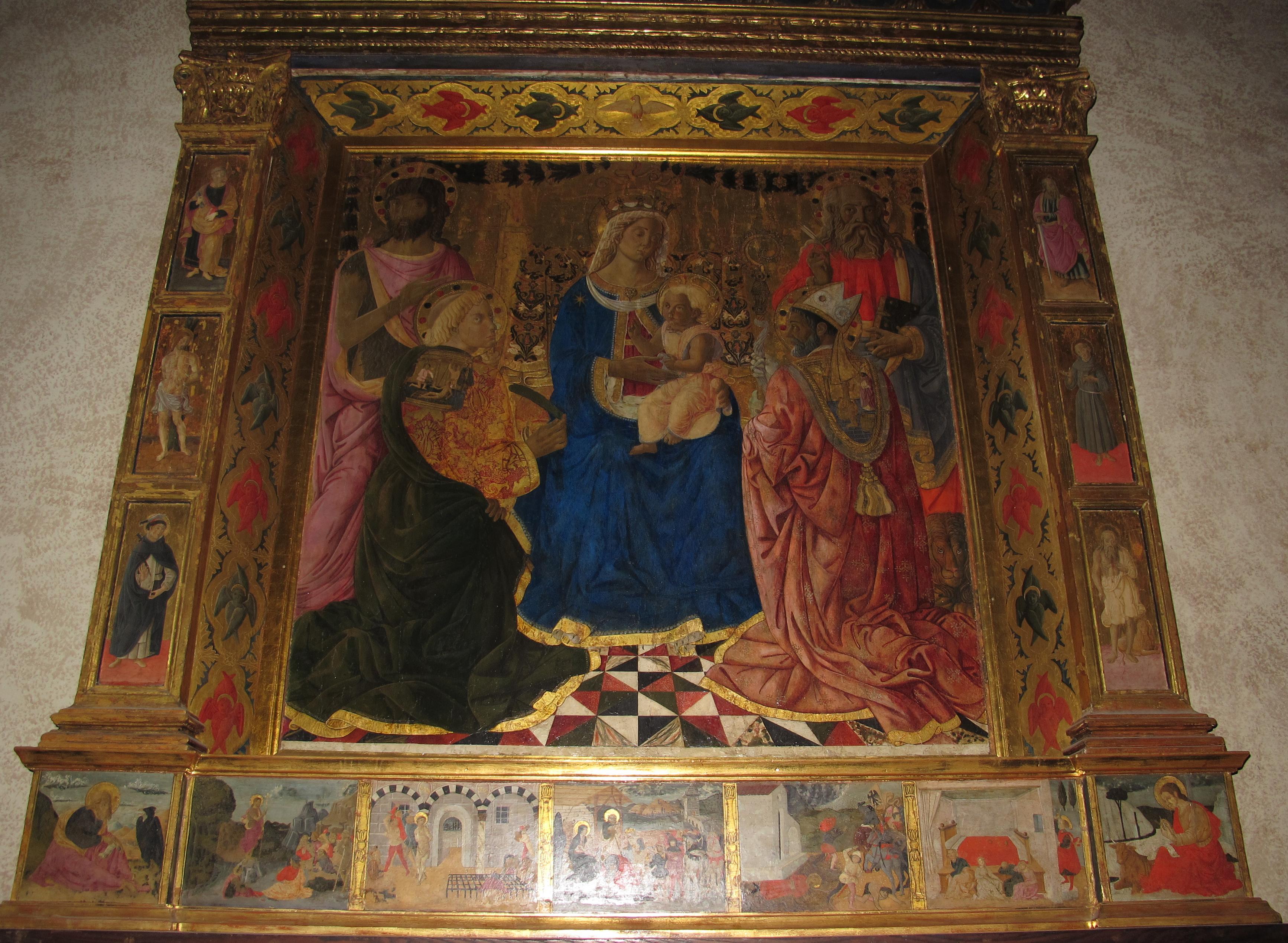Pier Francesco Fiorentino, Madonna col Bambino e i santi Giovanni Battista, Lorenzo, Marco e Nicola, (XV secolo)