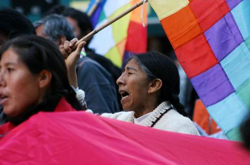 Protester with wiphala taking part in a demonstration supporting the Bolivian social movements. Buenos Aires (Argentine). Photo: Vera Bolkovic
