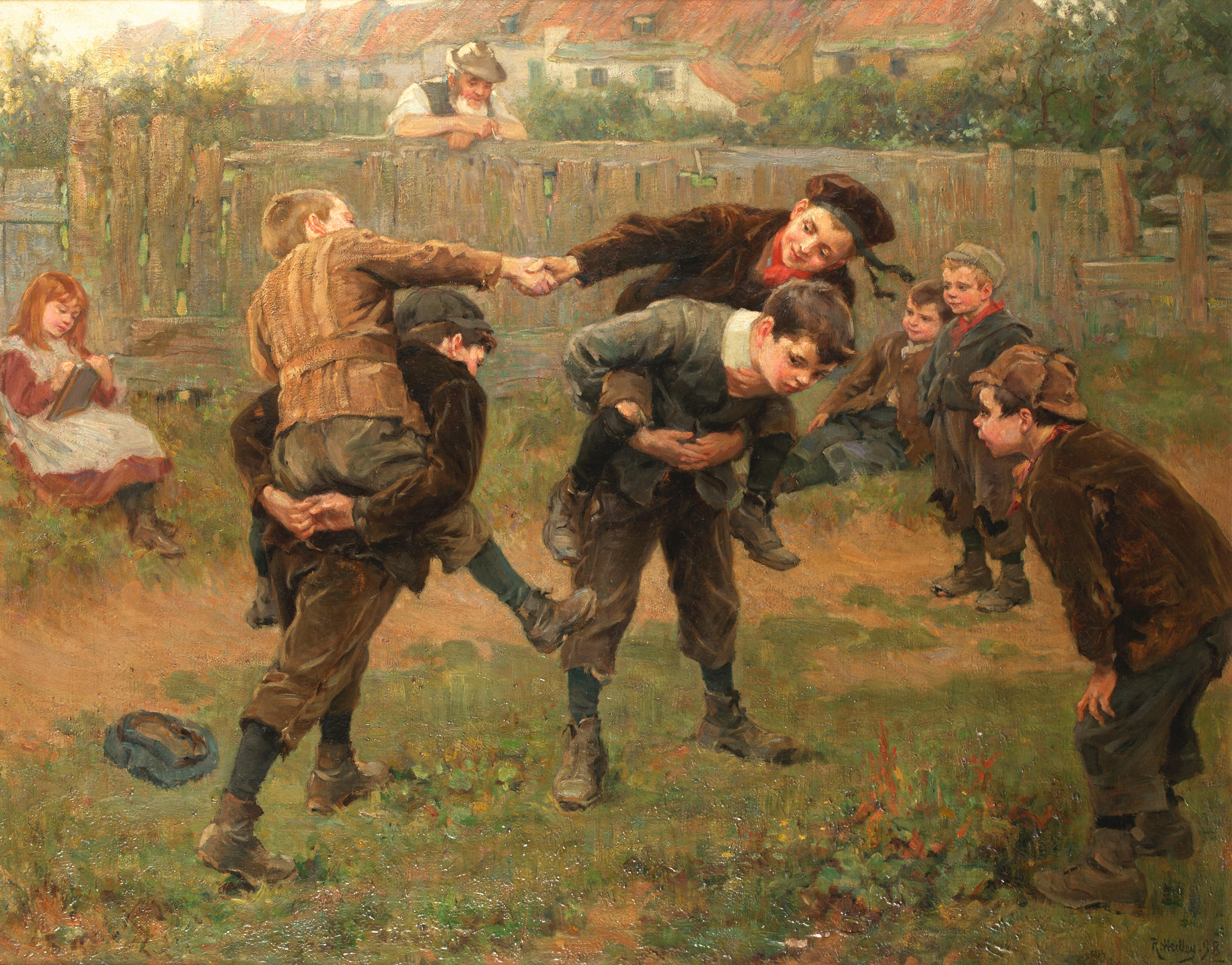 Ralph Hedley The Tournament (1898) Children adapting a courtly entertainment