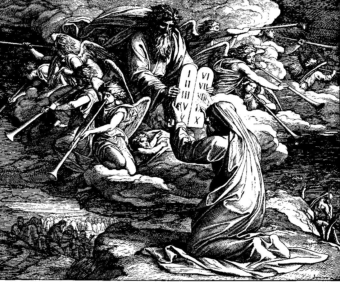 Moses receiving the Ten Commandments 1860 woodcut by Julius Schnorr von Carolsfeld