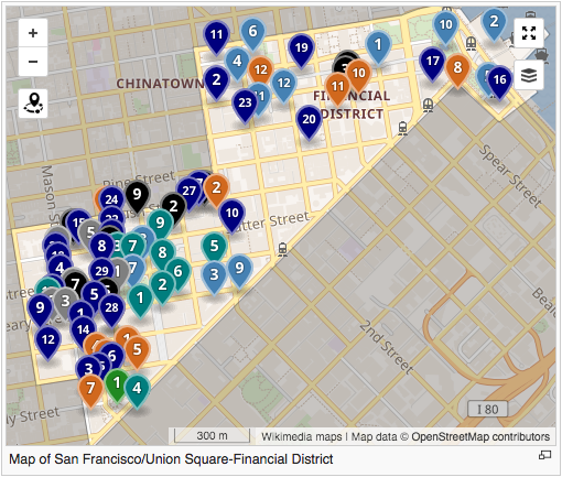File:Screenshot of a map on Wikivoyage displaying San ... on wall street financial district map, bart embarcadero map, bart schedule & map, bernal heights map, manhattan financial district map, neighborhood map, indianapolis downtown hotel map, boston financial district map, portola district map, new york meatpacking district map, san fran district map, south bay zip code map, new york financial district map, new york city theatre district map, los angeles county district map, montreal financial district map, montgomery bart station map, new york city school district map, in sf mission district map, visitacion valley map,