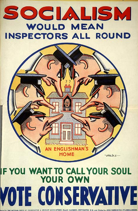 British 1929 Conservative Party poster on socialism and inspectors