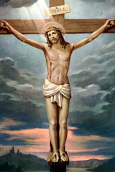 Jesus' korsfæstelse.   Efter kristendommen døde Jesus for menneskernes synder.