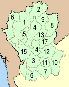 Map of Northern Thailand with the provinces numbered