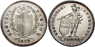 Ticinese franco, currency of Ticino until the introduction of the Swiss franc in 1850.