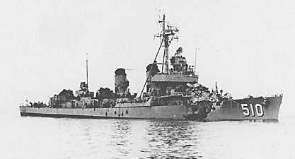 USS Eaton (DDE-510) following collision with USS Wisconsin