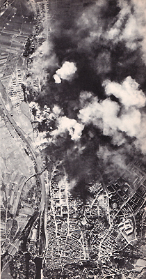 1943 USAAF raid on ball-bearing works at Schweinfurt, Germany.
