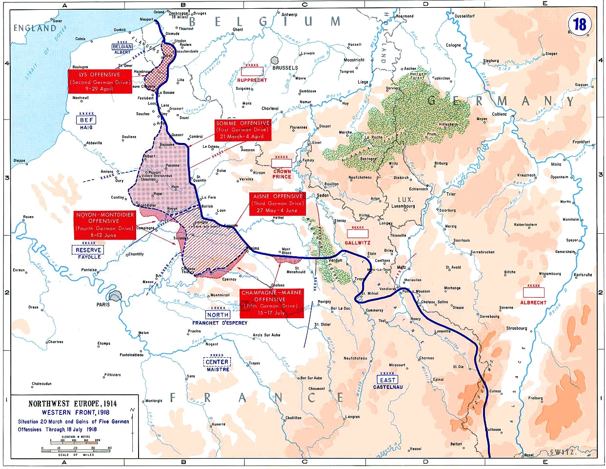 Map of the final German offensives on the Western Front (World War I), 1918