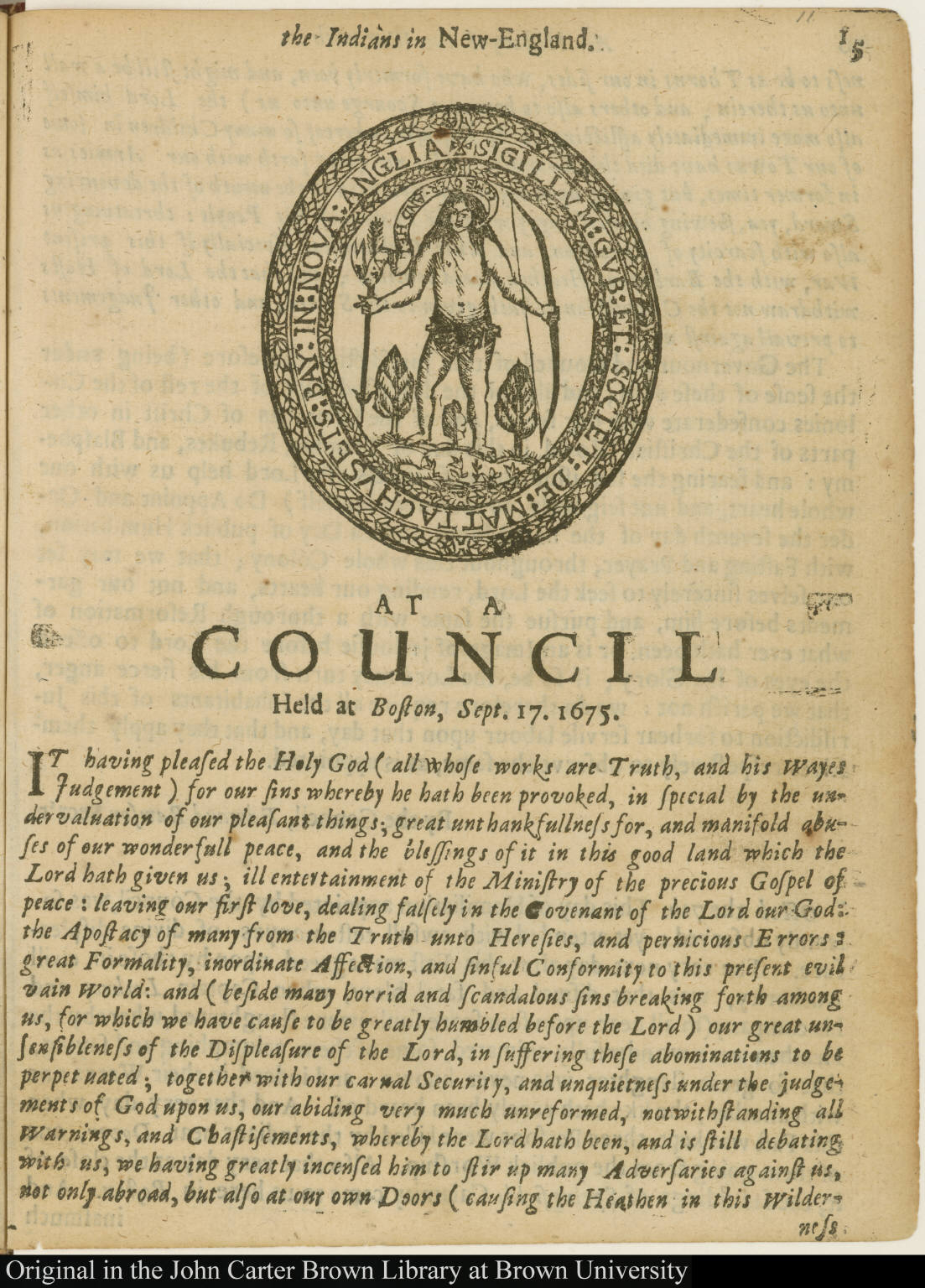 Early seal of the Massachusetts Bay Colony from 1629-1684.