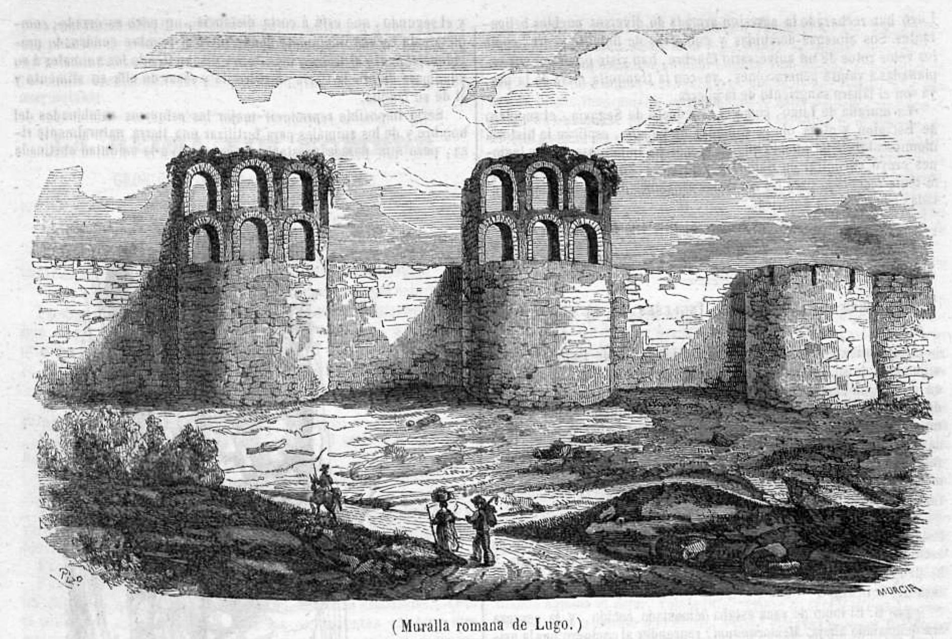 File:1850-10-06, Semanario Pintoresco Español, Muralla romana de Lugo,  Pizarro.jpg