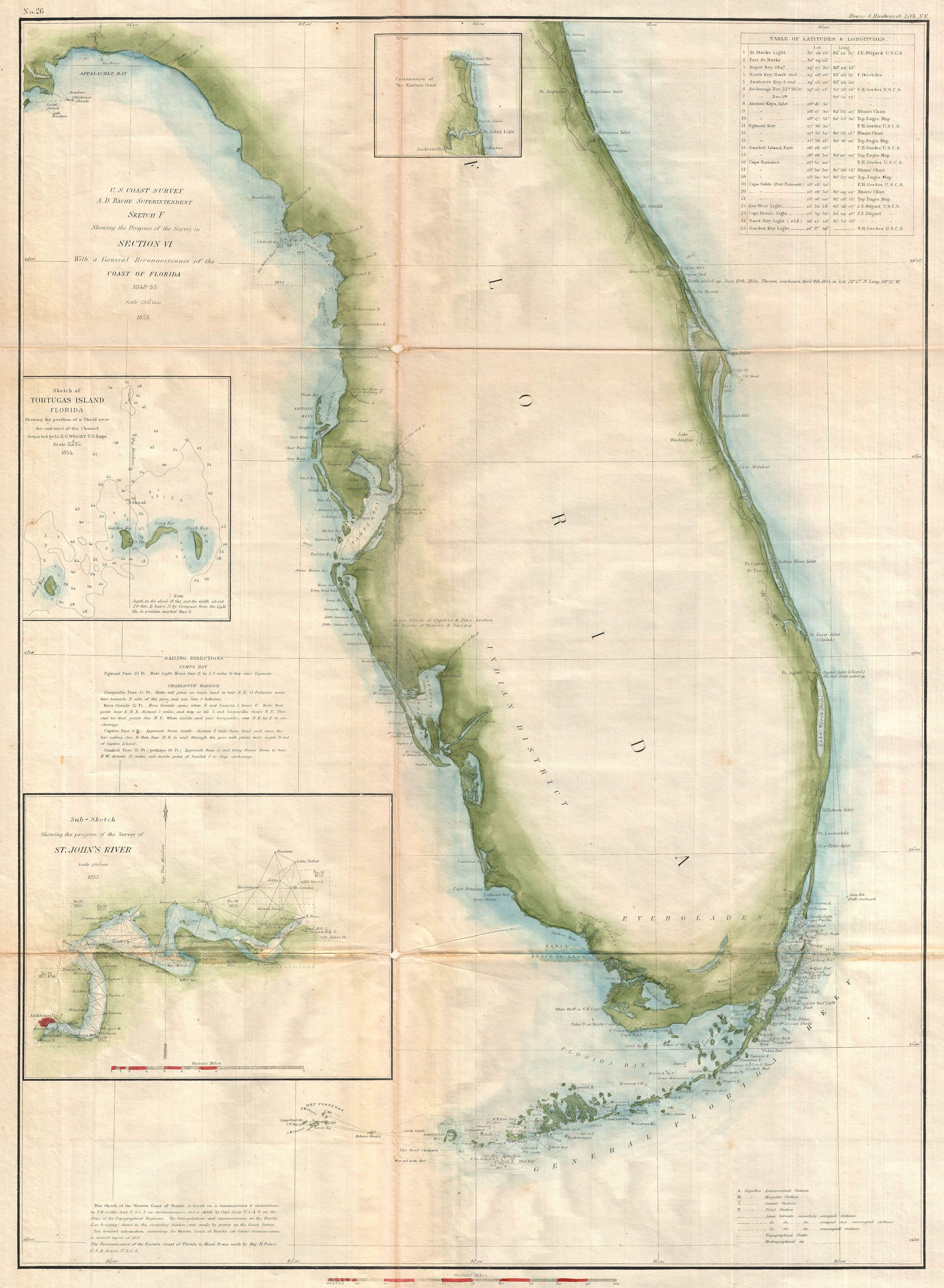 Coastal Map Of Florida.File 1855 U S Coast Survey Map Of Florida Geographicus Florida