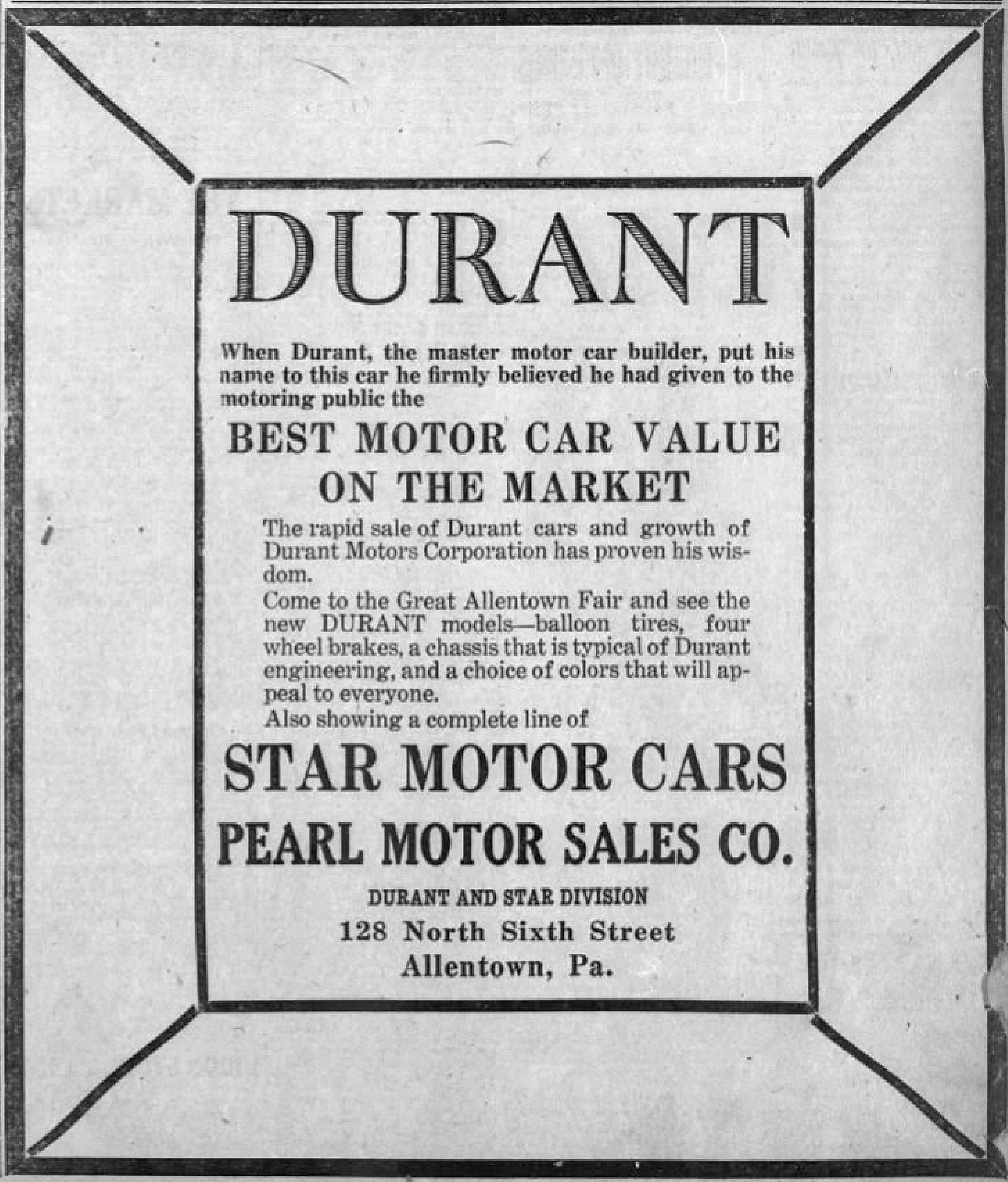 File 1924 Pearl Motor Sales 21 Sep Allentown PA