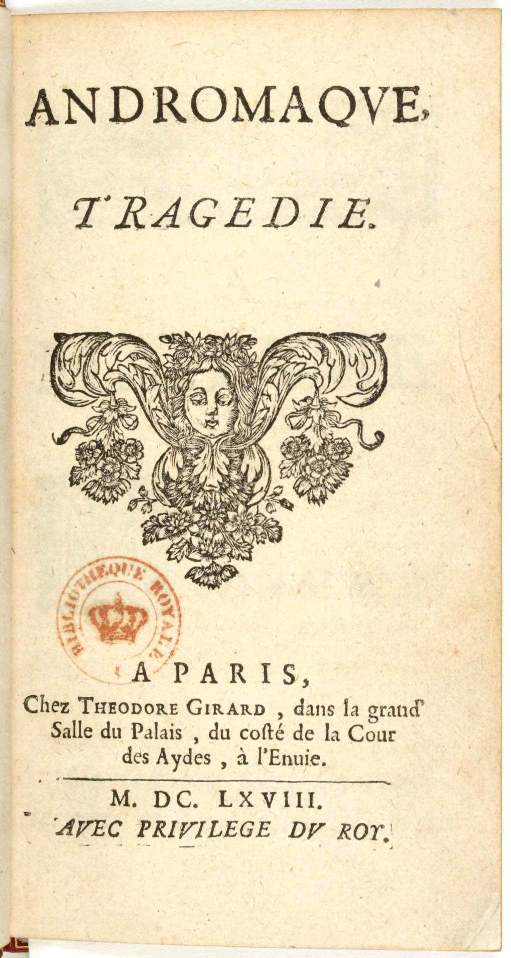 Andromaque 1668 title page.JPG