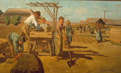 Anthon van Rappard - Arbeiders op de steenbakkerij Ruimzicht