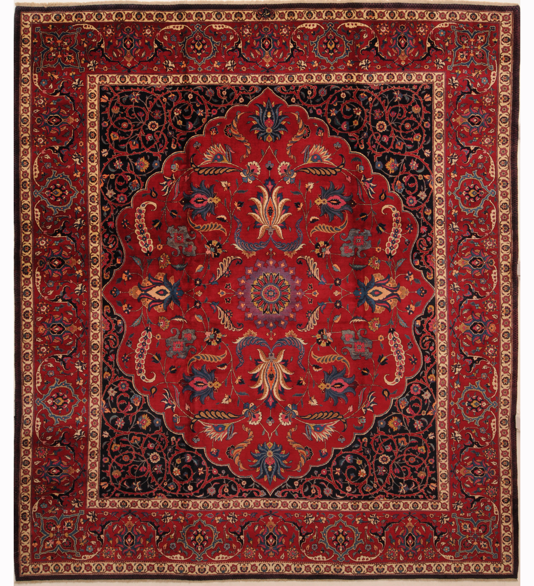 Description antique persian mashad rug