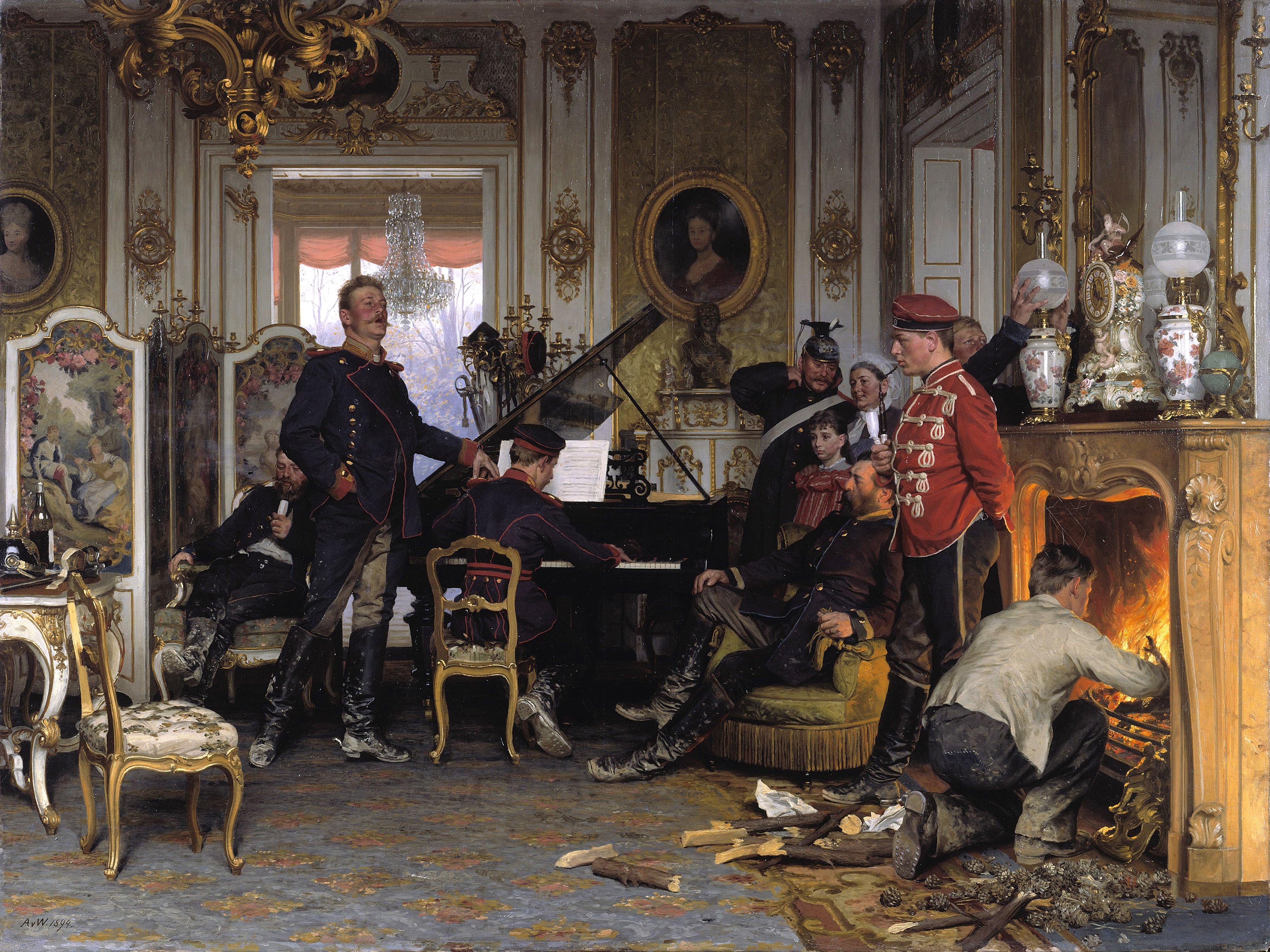 La musique dans la peinture - Page 7 Anton_von_Werner_-_Im_Etappenquartier_vor_Paris_-_Google_Art_Project