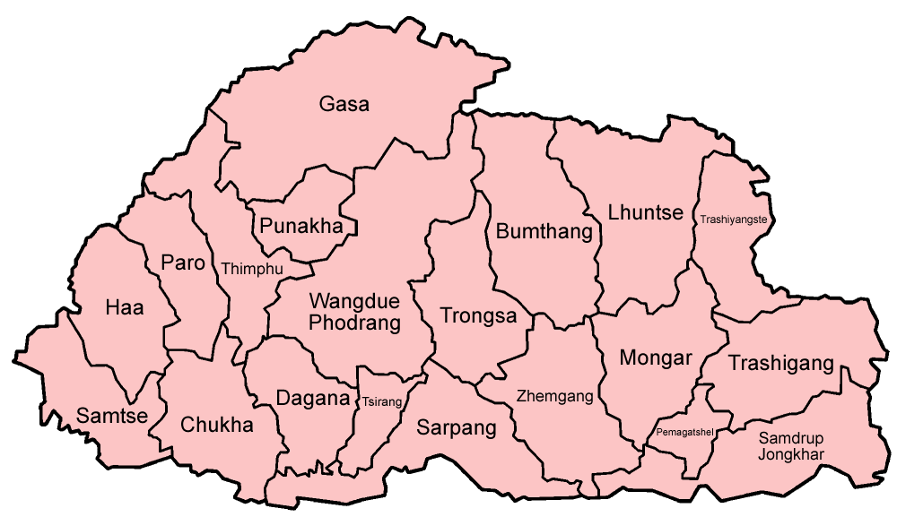 FileBhutan Districts Englishpng Wikimedia Commons - Map of bhutan with districts