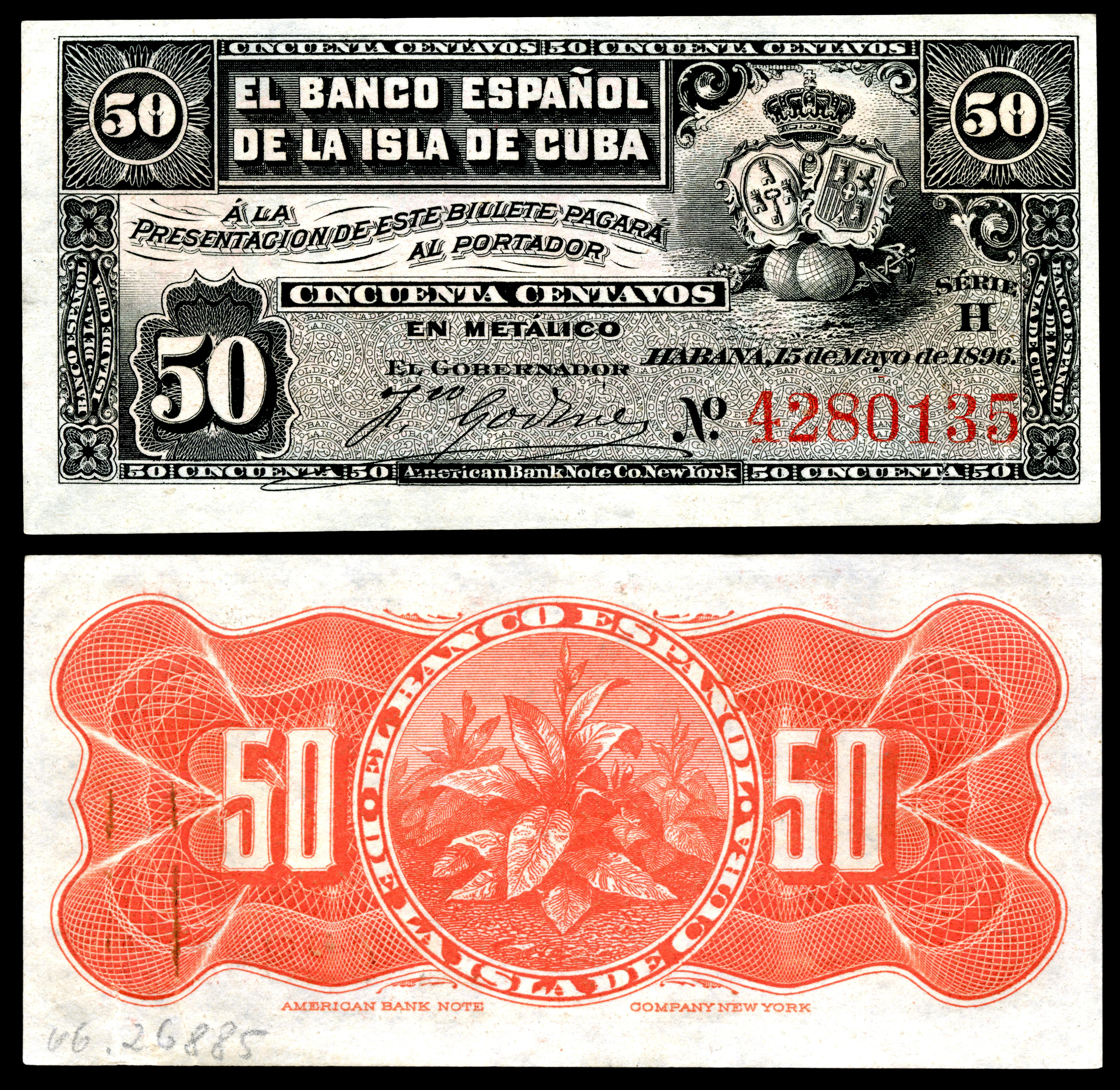 Cub 46a El Banco Espanol De La Isla Cuba 50 Centavos