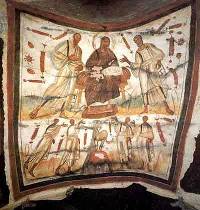 Catacomb of Saints Marcellinus and Peter on the Via Labicana. Christ between Peter and Paul. To the sides are the martyrs Gorgonius, Peter, Marcellinus, Tiburtius ChristPeterPaul.jpg