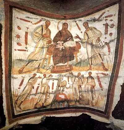 Veggmaleri fra 300-tallet i katakomben Marcellinus og Peter ved Via Labicana. Kristus mellom Peter og Paulus, og under dem martyrene Gorgonius, Peter, Marcellinus og Tiburtius