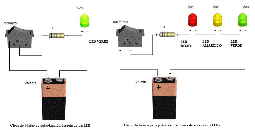Circuido para un LED y para varios LEDS