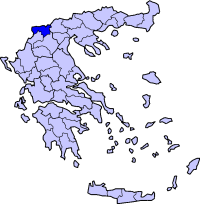 Location of Florina Prefecture in Greece