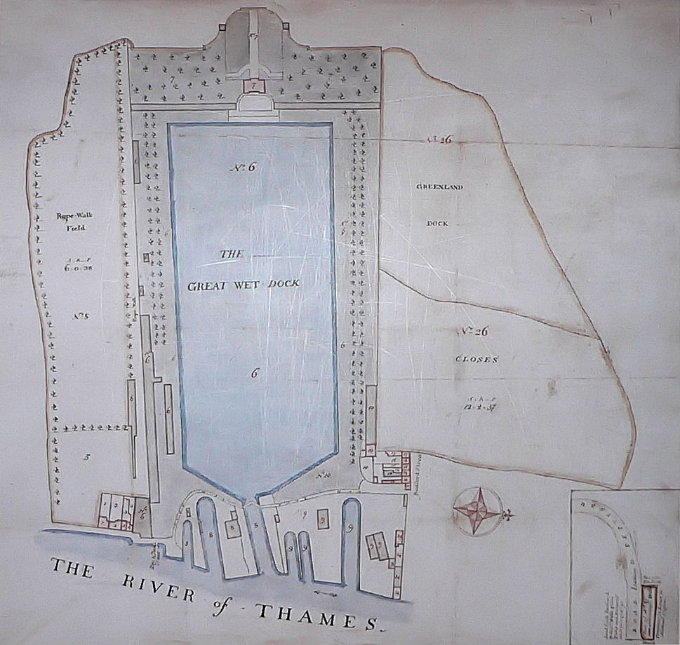 Manuscript plan of the Greenland Dock, 1763; the oldest dock in the Docklands.