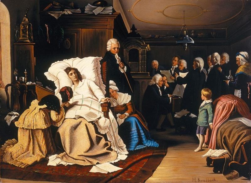 <em>Mozarts letzte Tage</em> (<em>Últimos días de Mozart</em>) de Hermann von Kaulbach (1873).