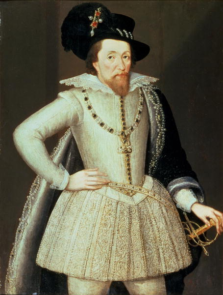 James VI and I (dressed in white)