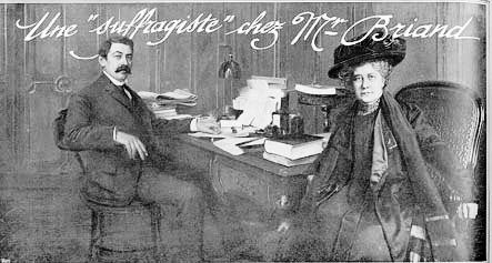 Jeanne Schmahl visiting the French Premier Aristide Briand in 1909 Jeanne Schmal chez Aristide Briand en 1909.jpg