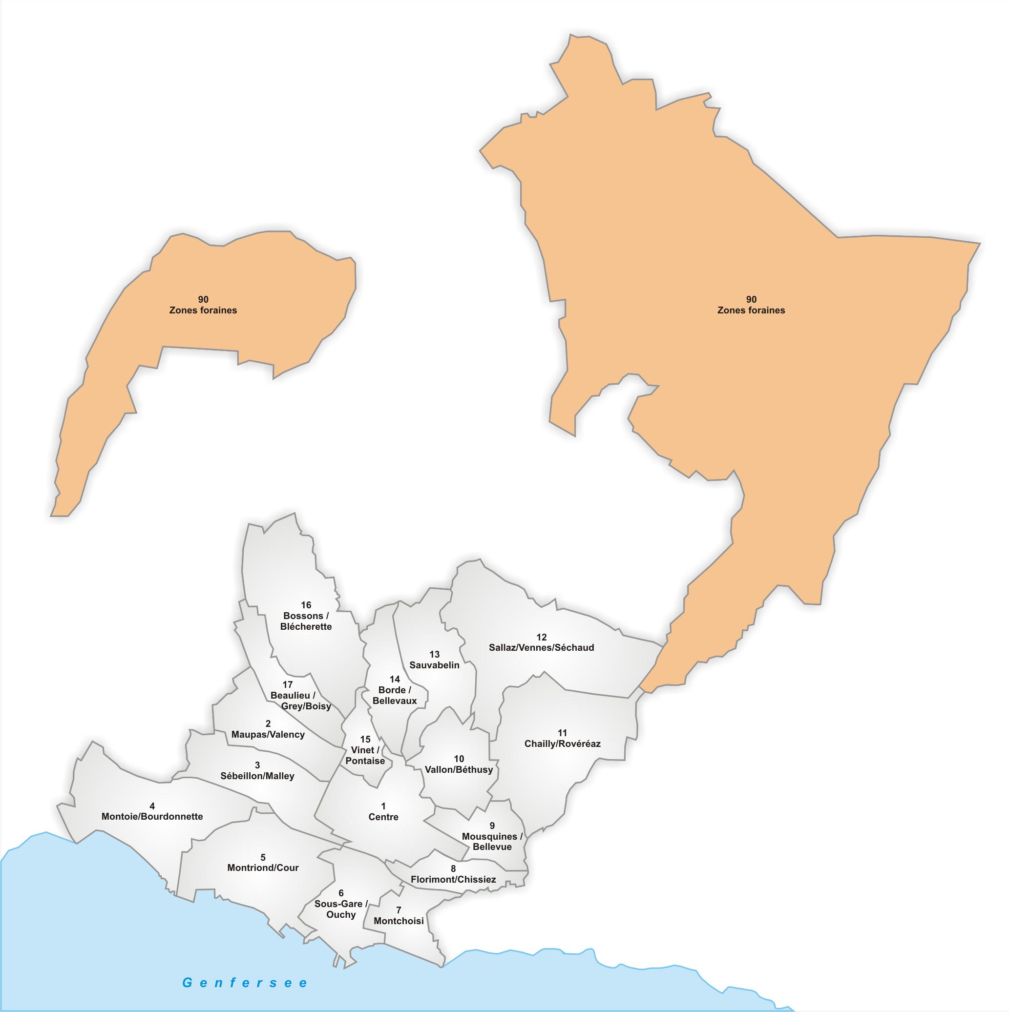 Lage des Stadtteils Zones foraines